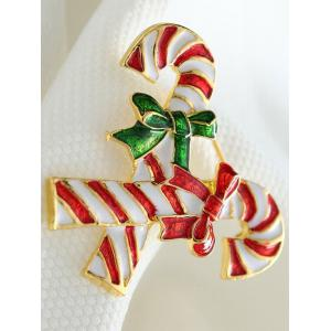 Alloy Candy Cane Bows Christmas Brooch - GOLDEN