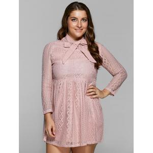Plus Size Bow Neck Sheer Lace Dress -