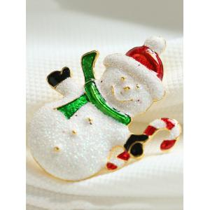 Alloy Snowman Christmas Candy Cane Brooch -