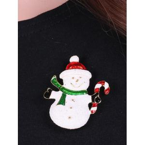 Alloy Snowman Christmas Candy Cane Brooch - WHITE