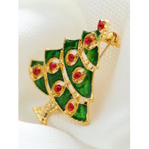 Rhinestone Alloy Pentagram Christmas Tree Brooch -
