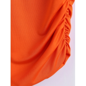 Lace Spliced Fitting Blouse - ORANGEPINK XL