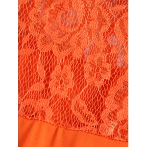 Lace Spliced Fitting Blouse - ORANGEPINK L