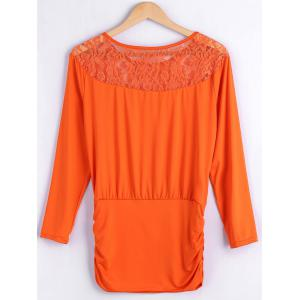 Lace Spliced Fitting Blouse -