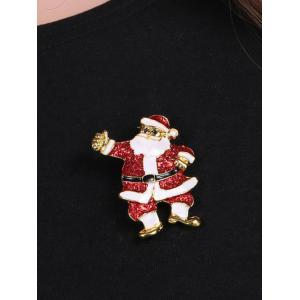Alloy Sequins Santa Christmas Brooch - RED