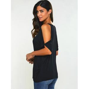 Dolman Sleeve Open Shoulder Top - BLACK 2XL