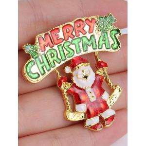 Tree Leaf Santa Merry Christmas Brooch - GOLDEN