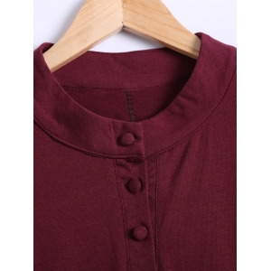 Long Sleeves Buttoned  Flare Dress - WINE RED 5XL