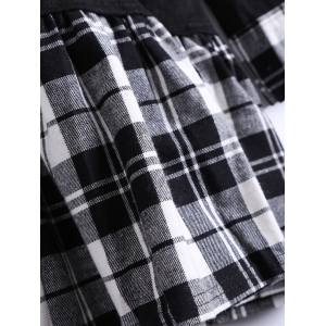 Long Sleeves Checkered Patchwork Dress -