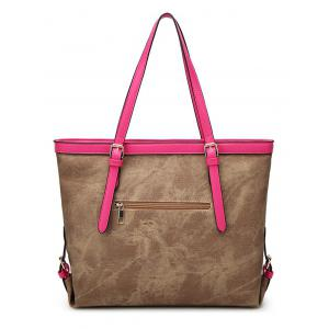 Buckle Straps PU Leather Shopper Bag -