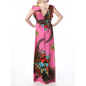 Floral Print Empire Waist Floor Length Boho Dress -