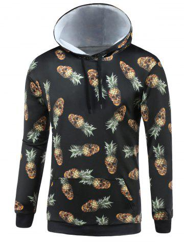 Online Hooded 3D Abstract Pineapple Skull Print Long Sleeve Hoodie BLACK 3XL