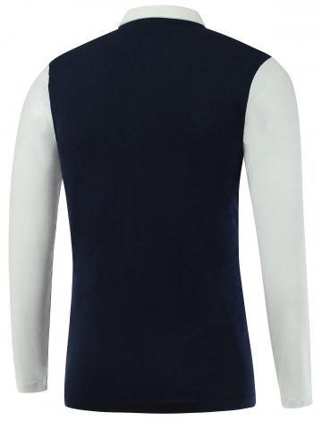 Online Color Block Turn-Down Collar Long Sleeve Polo T-Shirt - M SAPPHIRE BLUE Mobile