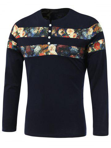 Fancy Floral Print Spliced Round Neck Long Sleeve T-Shirt - 3XL SAPPHIRE BLUE Mobile