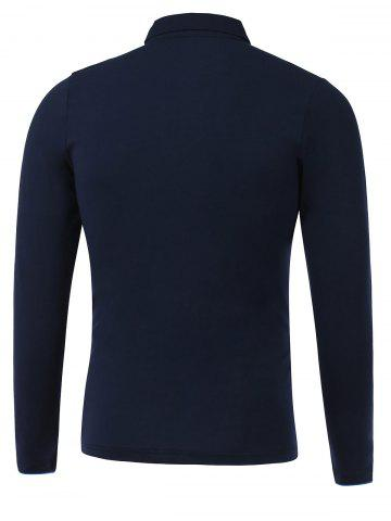 Buy Letter Emboss Turn-Down Collar Long Sleeve Polo T-Shirt - M DEEP BLUE Mobile