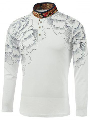 Online Flower Print Spliced Stand Collar Long Sleeve T-Shirt