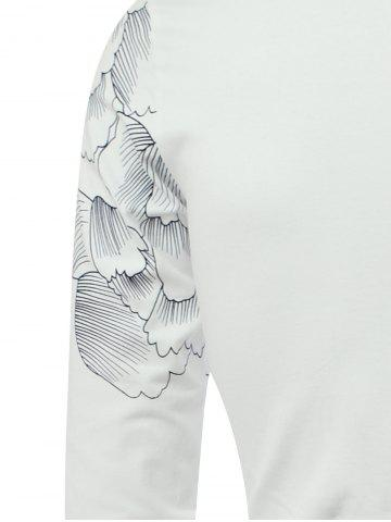 Outfit Flower Print Spliced Stand Collar Long Sleeve T-Shirt - L WHITE Mobile