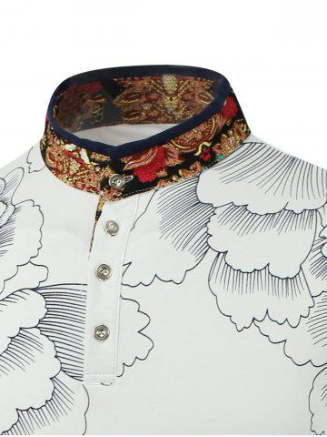 Outfit Flower Print Spliced Stand Collar Long Sleeve T-Shirt - M WHITE Mobile
