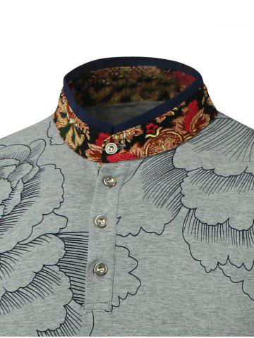 Unique Flower Print Spliced Stand Collar Long Sleeve T-Shirt - L GRAY Mobile