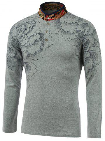 Store Flower Print Spliced Stand Collar Long Sleeve T-Shirt - L GRAY Mobile