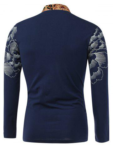 Discount Flower Print Spliced Stand Collar Long Sleeve T-Shirt - L SAPPHIRE BLUE Mobile