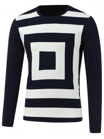 Outfits Color Block Box Print Round Neck Long Sleeve T-Shirt - 2XL SAPPHIRE BLUE Mobile