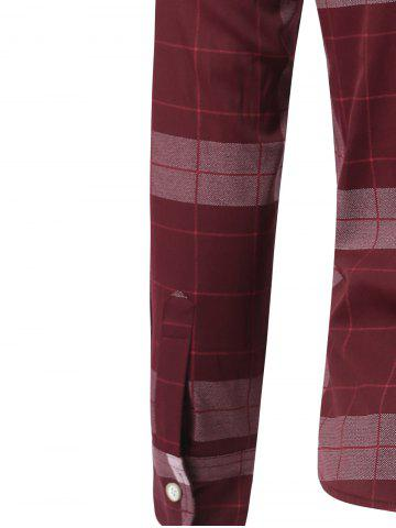 Fancy Plaid Long Sleeve Button Down Flannel Shirt - M WINE RED Mobile