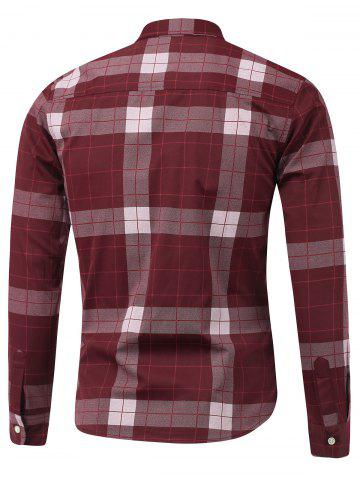 Latest Plaid Long Sleeve Button Down Flannel Shirt - M WINE RED Mobile