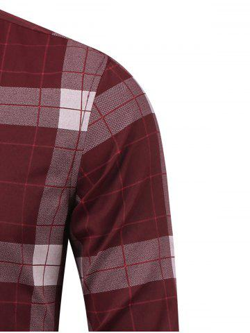 Outfits Plaid Long Sleeve Button Down Flannel Shirt - M WINE RED Mobile