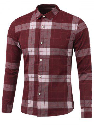 Best Plaid Long Sleeve Button Down Flannel Shirt - M WINE RED Mobile