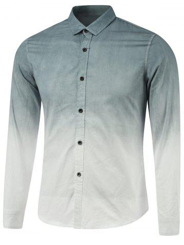 Sale Ombre Turn-Down Collar Long Sleeve Shirt