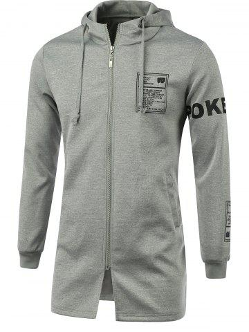 Discount Letter Print Hooded Long Sleeve Zip-Up Hoodie - XL GRAY Mobile