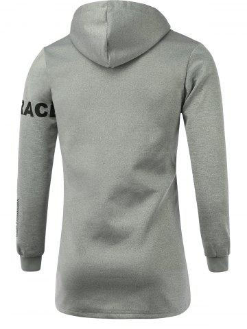 Affordable Letter Print Hooded Long Sleeve Zip-Up Hoodie - XL GRAY Mobile