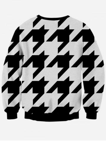 Hot Long Sleeve Houndstooth Crew Neck Black and White Sweatshirt - L WHITE AND BLACK Mobile