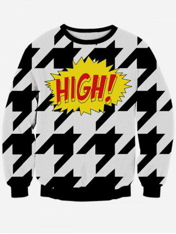 Hot Long Sleeve Houndstooth Crew Neck Black and White Sweatshirt - S WHITE AND BLACK Mobile