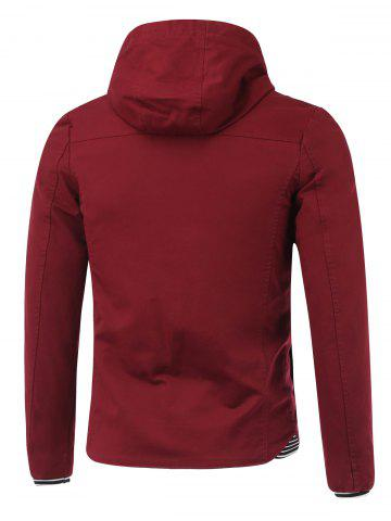 Shop Rib Splicing Design Hooded Zip-Up Jacket - XL WINE RED Mobile