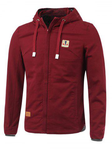 Discount Rib Splicing Design Hooded Zip-Up Jacket - XL WINE RED Mobile