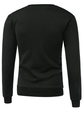Shops Letter and Number Print Round Neck Long Sleeve Sweatshirt - XL BLACK Mobile