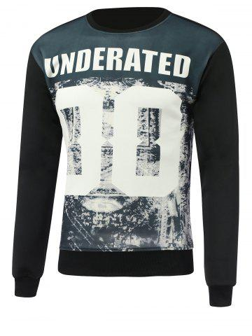 Trendy Letter and Number Print Round Neck Long Sleeve Sweatshirt - XL BLACK Mobile