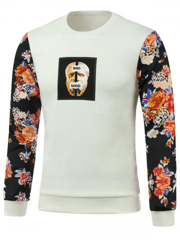 Online Flower Splicing Printed Round Neck Long Sleeve Sweatshirt