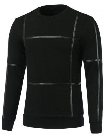 PU-Leather Selvedge Embellished Round Neck Long Sleeve Sweatshirt - Black - M