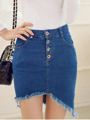 Latest Frayed Asymmetric Slim Denim Skirt