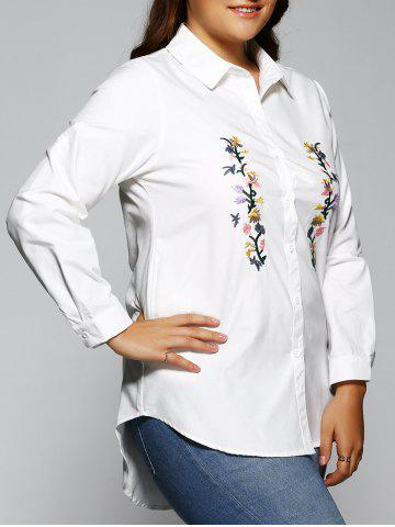 New High Low Embroidered Long Blouse