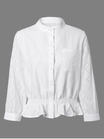 Shops Long Sleeve Flounced Openwork Shirt