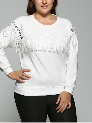 Fashion Fringed Raglan Sleeve Sweatshirt
