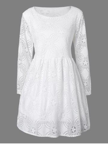 Trendy Lace Long Sleeve Openwork Mini Dress