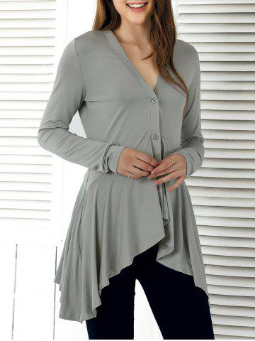 Buy V-Neck Asymmetrical Flounce Blouse