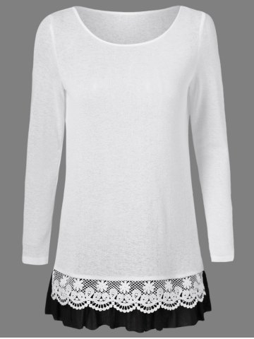 Outfit Lace Patchwork Falbala Blouse