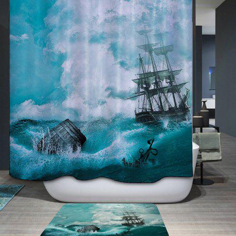 Waterproof Mouldproof Sail Ship Printed Shower Curtain - COLORMIX