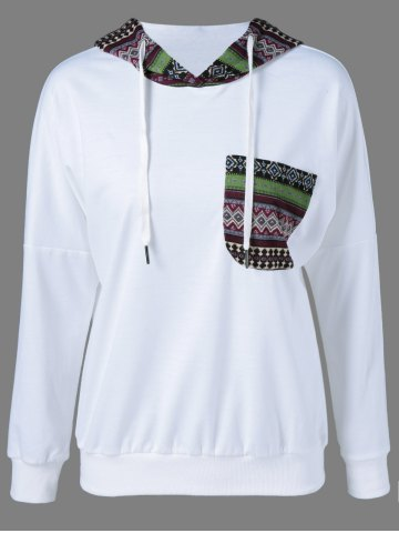Buy Tribal Pattern Spliced Drawstring Hoodie
